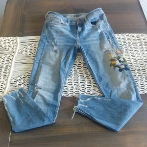 Zara Basic raw hem floral embroidered jeans 2558